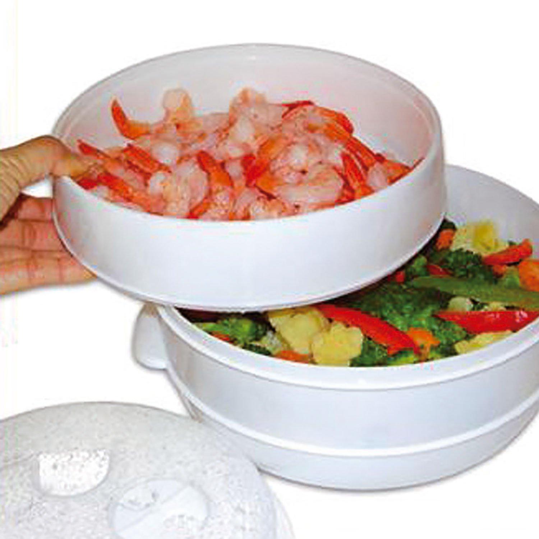 Top Home Solutions Olla de cocción a vapor de 2 niveles para verduras, arroz, pasta para microondas