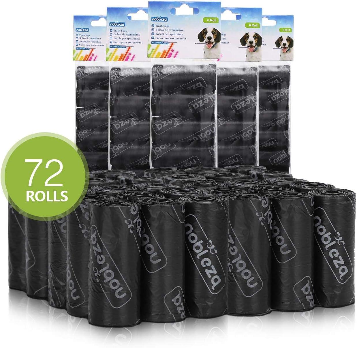 Nobleza - 1080 Conde Bolsas de Caca Perro Bolsas para excrementos de Perros Pack de 72 Rollos. Negro