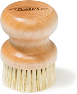 CLARK'S Round Scrub Brush | Maple Construction | Scrub Brush for Cast Iron, Cutting Boards, Butcher Blocks, Countertops, Dishes, and wood surfaces | Proudly made in the USA