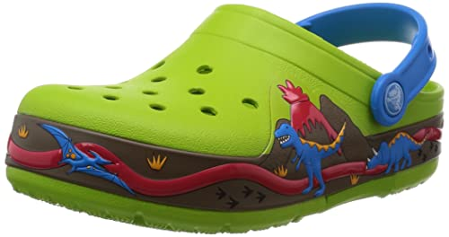 Crocs CrocsLights Dinosaur PS, Unisex-Child Clogs, Green (Volt Green/Ocean