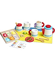 Melissa & Doug Wooden Steep & Serve Tea Set, Pretend Play, All-Wood Tea Service, Brightly Colored Tags, 30.48 cm
