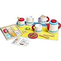 Melissa & Doug Juego de madera para preparar y servir el té, juego de imitación, set de servicio de té completamente de madera, etiquetas en colores brillantes, 30.48 cm alto x 38.1 cm ancho x 8.89 cm largo