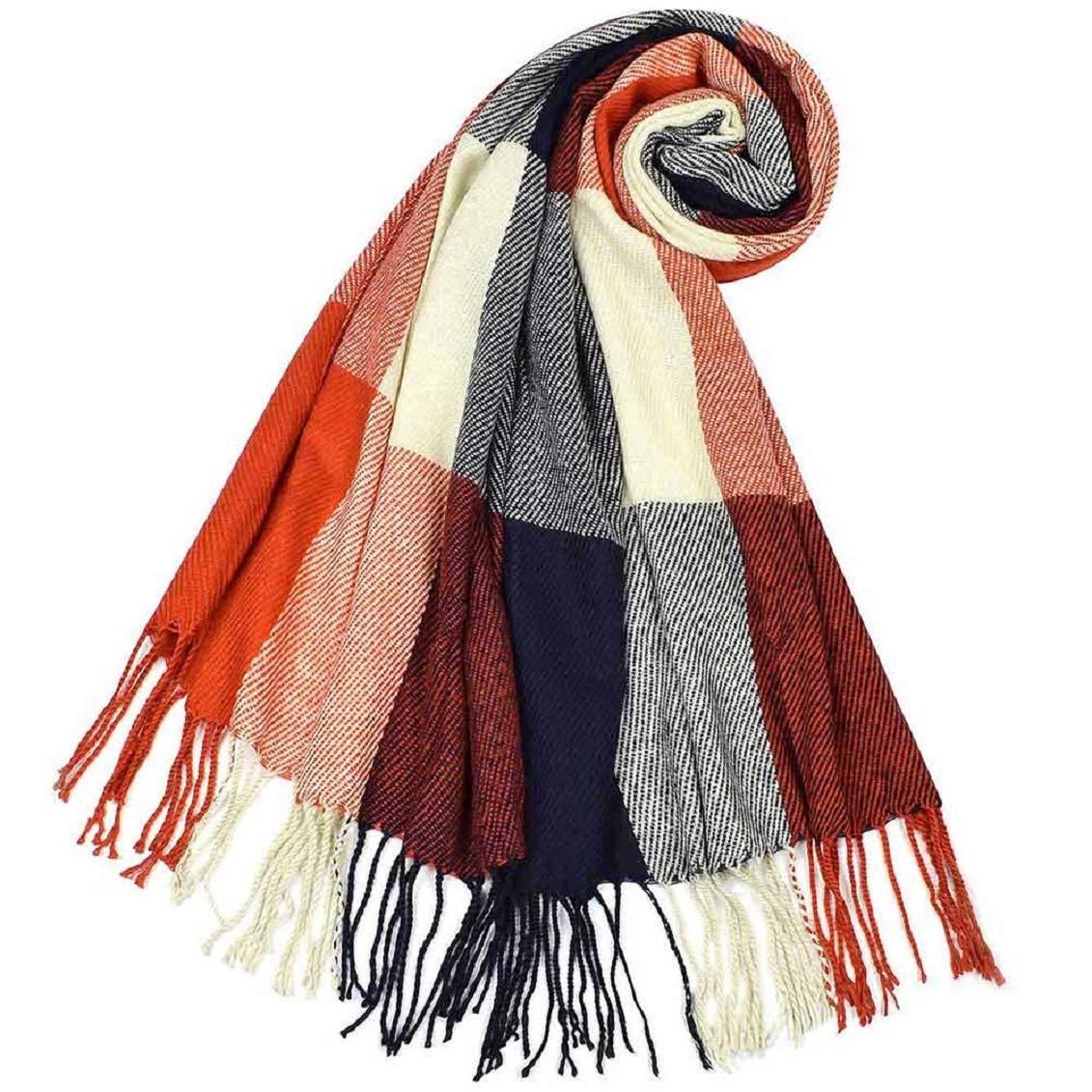 Tuopuda Sciarpa Donna Inverno Caldo Classico Scozzese Sciarpa Multicolore Elegante Scialle Donna Invernale Poncho Stola Donna Invernale