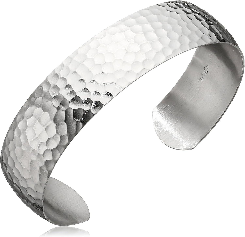 Minimalist Geometric Tribal Handmade Hammered Silver Cuff Bracelet Bohemian Stackable Cuff
