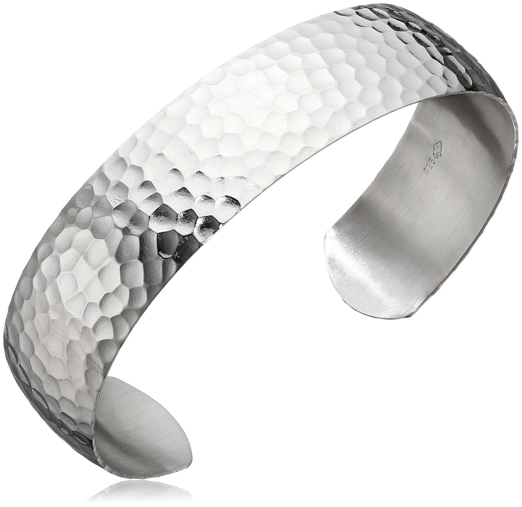 Sterling Silver Embossed Hammered Cuff Bracelet
