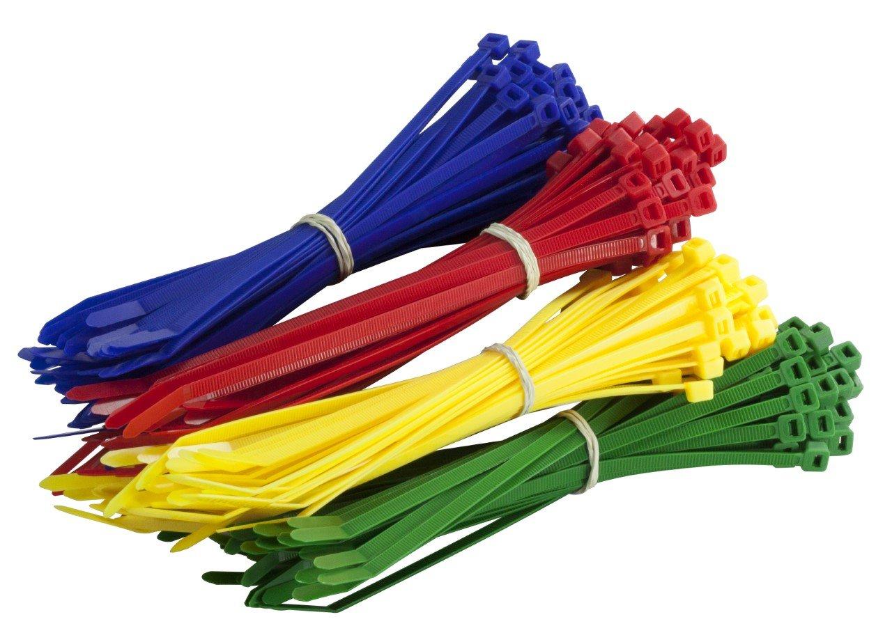 200Multi Lot de coloré Attaches de câble–Premium Rouge, Vert, bleu et jaune Tie Wraps–Haute Qualité solide en nylon Zip Ties par Gocableties, multicolore Gocableties Ltd