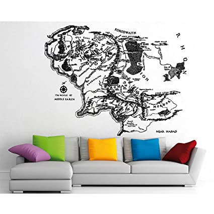 Amazon.: Middle Earth Map Sticker Vinyl Wall Art Decal WD 0642
