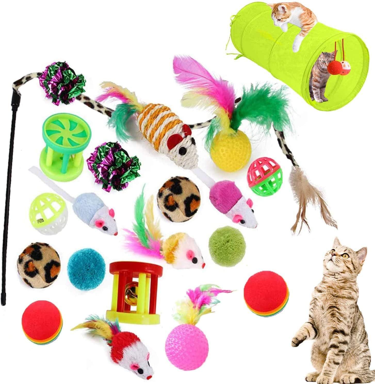 Juguetes para Gatos Interactivo Ratón, Bolas, Varita, Juguetes para Gatos con Plumas y Túnel  para gatos