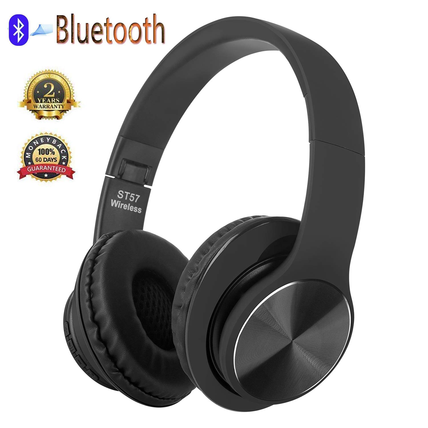 Bluetooth Headphones Over Ear, Hi-Fi Stereo Wireless Headset, Foldable, Soft Memory-Protein Earmuffs, w/Built-in Mic and Wired Mode for PC/Cell Phones/TV