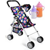 fash n kolor Exquisite Buggy, My First Baby Doll Stroller with Flower Design with Basket in The Bottom- 2 Free Magic Bottles