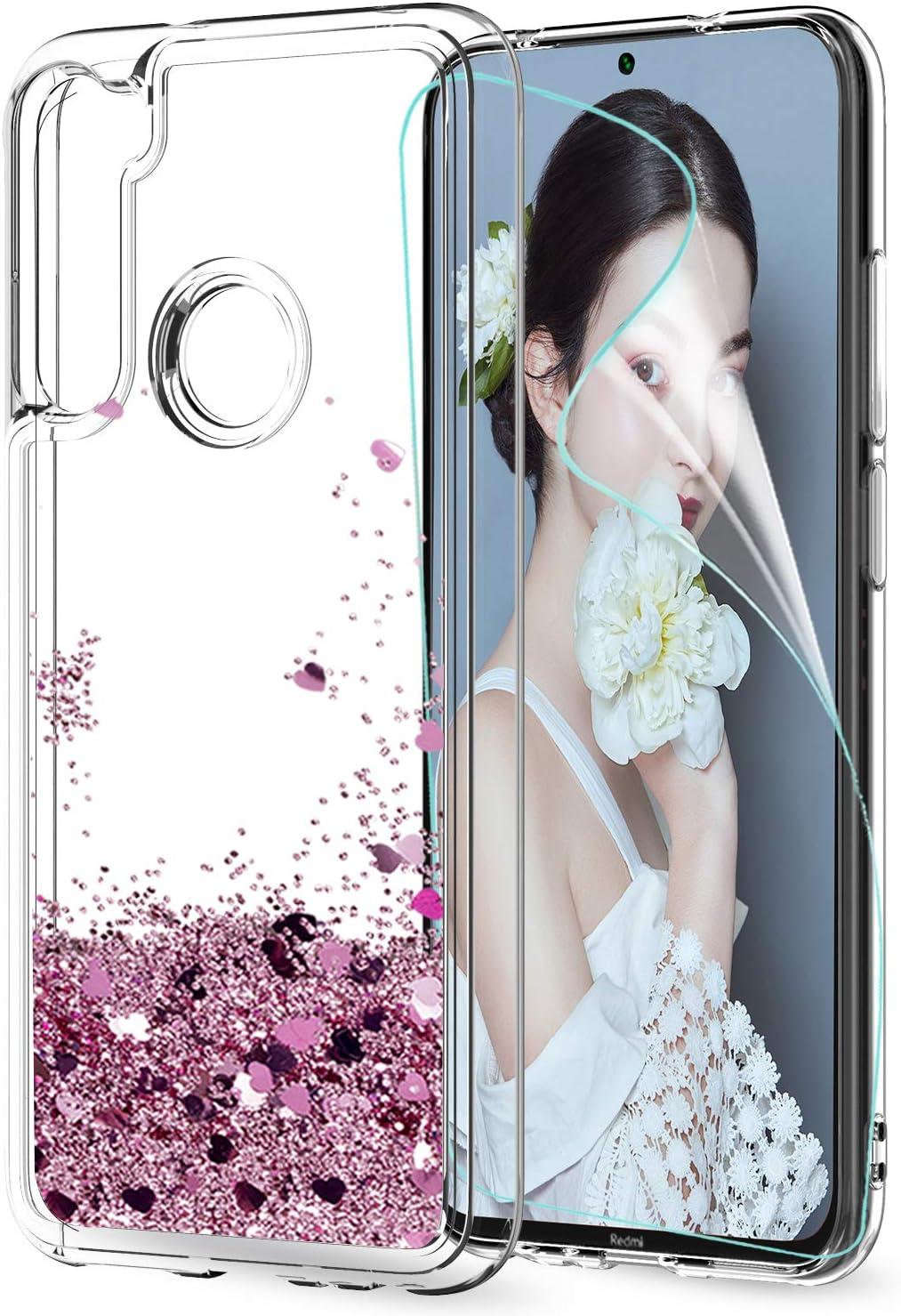 LeYi Funda Xiaomi Redmi Note 8 Silicona Purpurina Carcasa con HD Protectores de Pantalla, Transparente Cristal Bumper Telefono Gel TPU Fundas Case Cover para Movil Redmi Note 8 ZX Oro Rosa