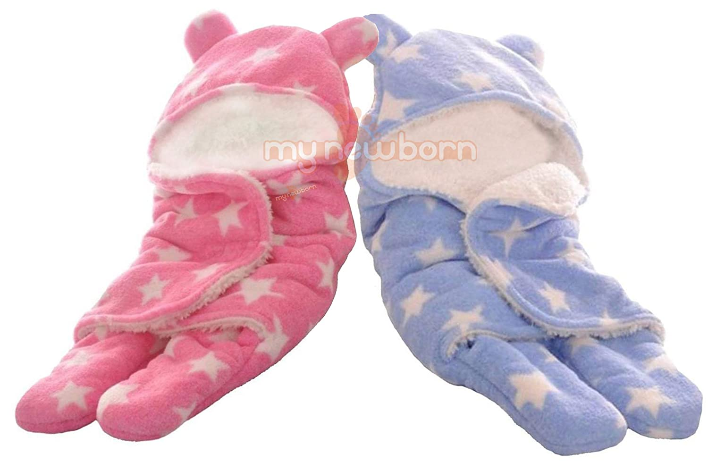 My Newborn Soft Flannel Baby Blanket Sleeping Bag, Multicolor (Pack of 2)