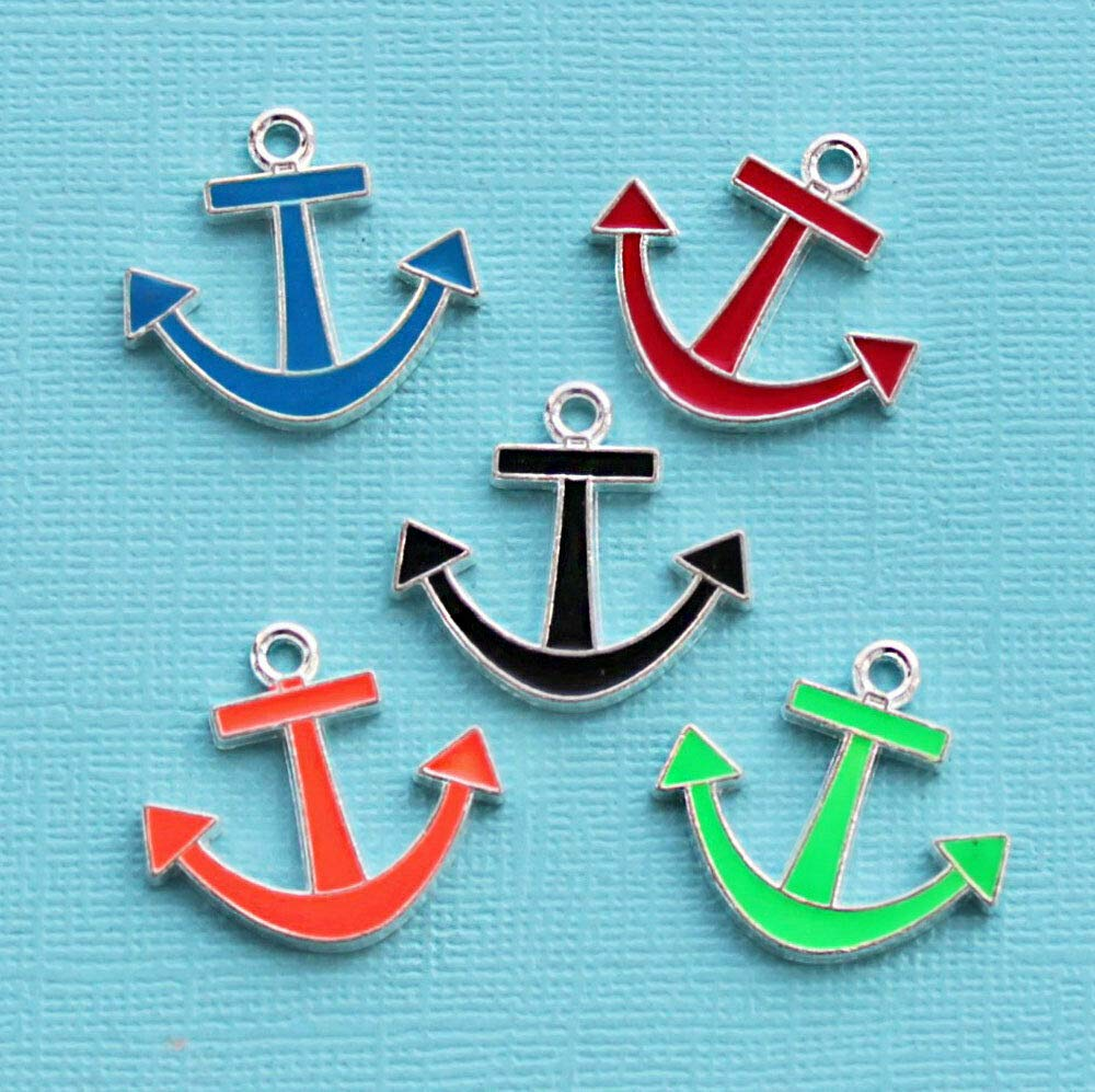 Extensive Collection of Charm 5 Anchor Charms Enamel Silver Tone Assorted Colors E180 Express Yourself