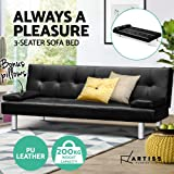 Artiss Sofa Bed 3 Seater Recliner Lounge Couch Leather Black