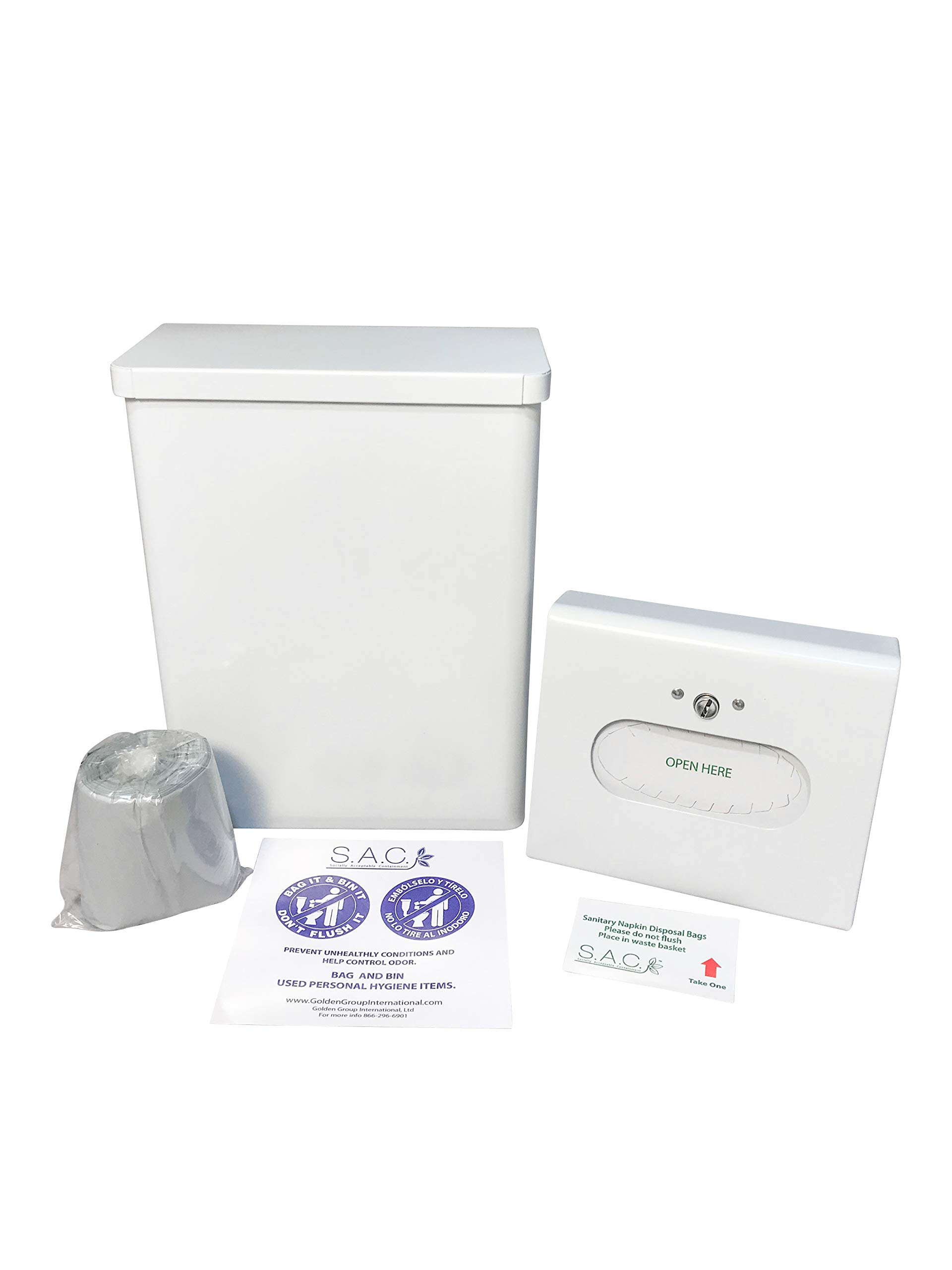 Sanitary Napkin Receptacle, Surface Mounted, with Liners, Courtesy Disposal Bags and Dispenser, Steel (White)