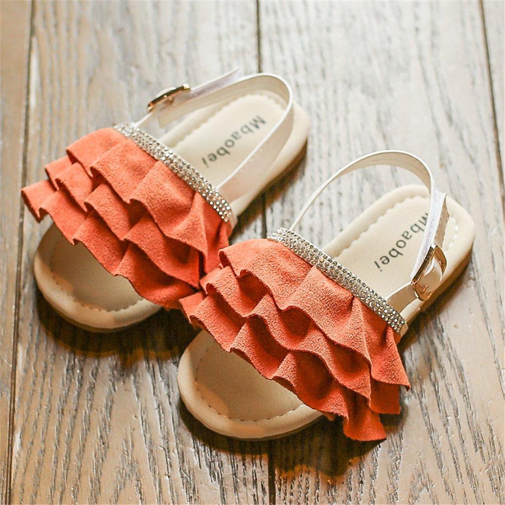 lakiolins Toddler Girls Layered Pleated Slip On Slides Summer Beach Slingback Flat Sandals Orange Size 25 by lakiolins (Image #3)