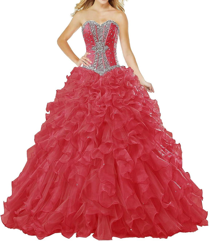 ZAXANTS Sale Women's Atlanta Mall Strapless Ball Gown Organza Ruffle D Quinceanera