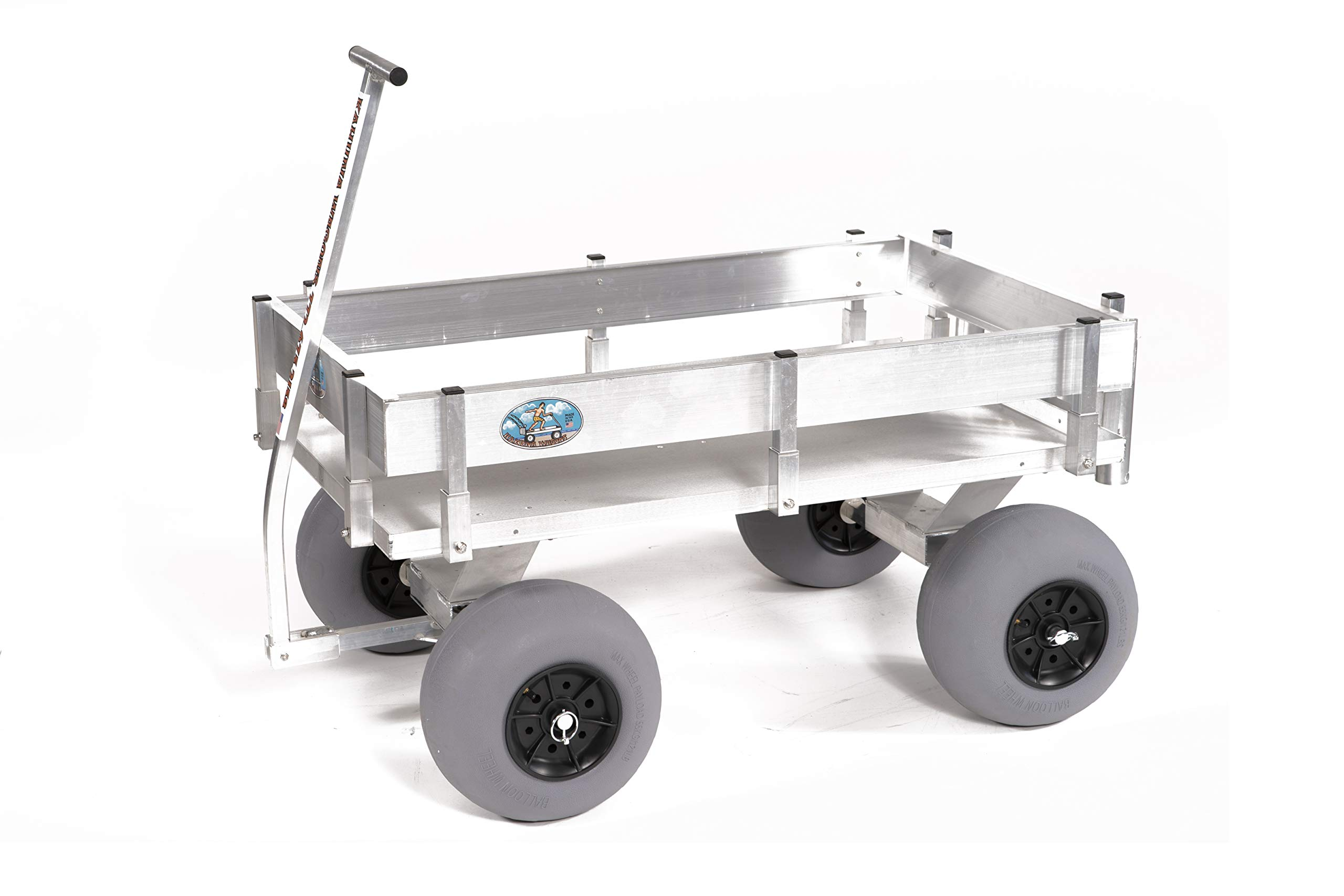 Big Kahuna Beach Wagon-Large Solid Aluminum Deck, Aluminum-Balloon Tires-Rod Holders-No Rust-Walls-Made in USA