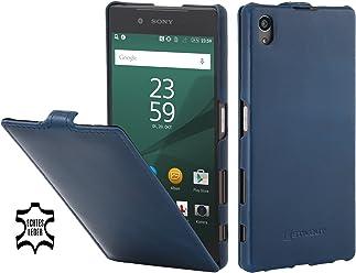 StilGut UltraSlim Case, Custodia in Pelle per Sony Xperia Z5 & Sony Xperia Z5 Dual, Blu Notte