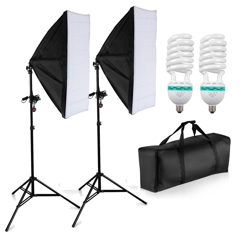 1250W Photography Studio Softbox Lighting Kit - 50cm x 70cm Softboxes +  Fully Adjustable Aluminum alloy Light Stand + 125W Photo Studio Light Bulbs  +