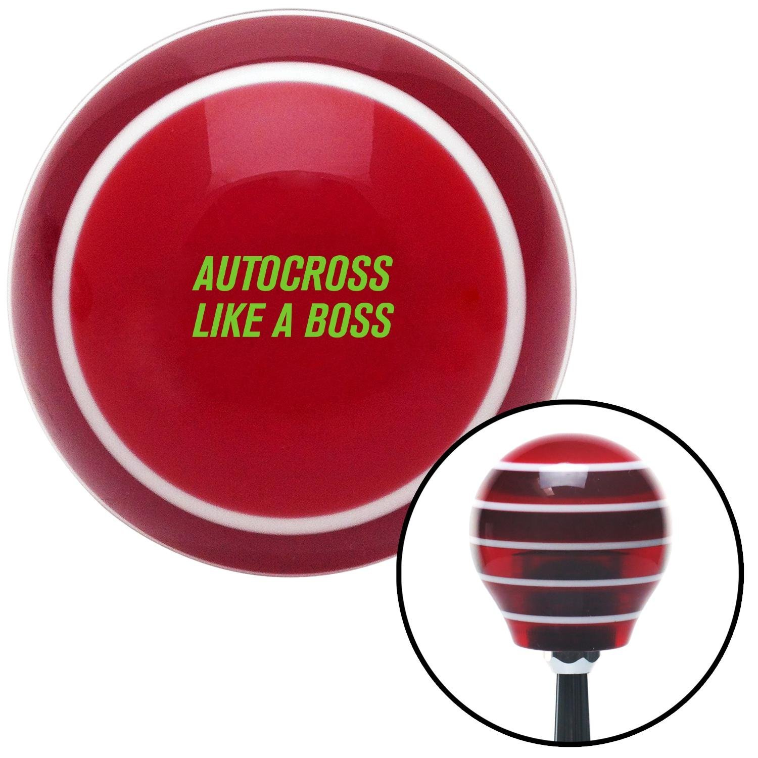 American Shifter 273871 Shift Knob Green Autocross Red Stripe with M16 x 1.5 Insert
