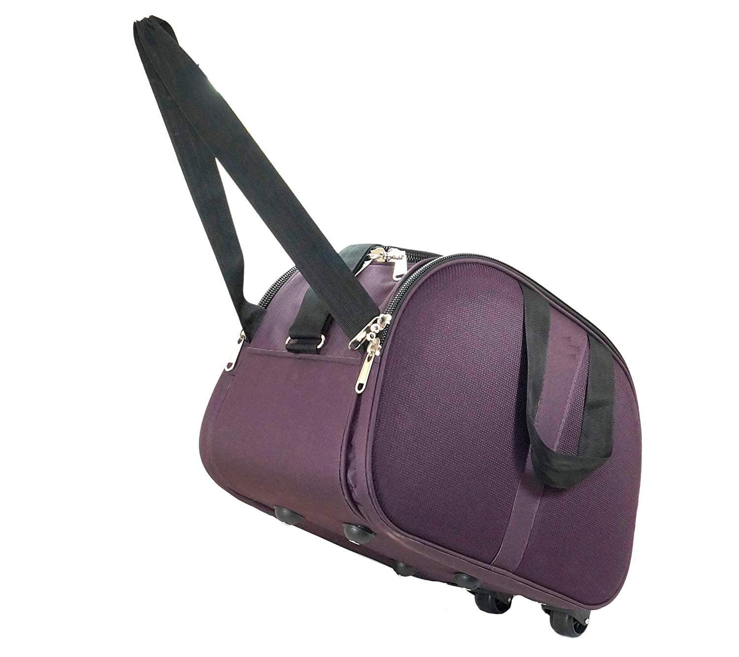Karp Polyester-Fabric Purple Cabin Luggage Bag, Travel Duffle Trolley Bag with Wheels for Flight/Journey