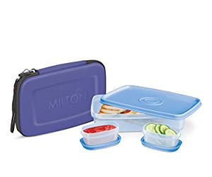 Lunch Box - Milton Flat Lunch Bag for Men Women Adults Bento Box Style Elegant Hard Shell Case with Handle Strap - Portable Fits In Your Bag - 1 Big & 2 Inner Containers Airtight, Leakproof; Blue