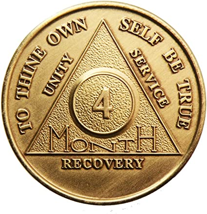4 Year Bronze AA Chip Recovery Birthday Alcoholics Anonymous Sobriety Coin Medallion Sober Anniversary