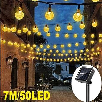 Guirnalda luces exterior solares, 7M 50 LED Cadena de Luces ...