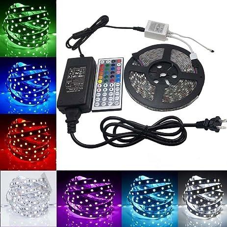 Amazon fsjee 5050 rgb led strip light kit led tape light fsjee 5050 rgb led strip light kit led tape lightribbon led light aloadofball Image collections