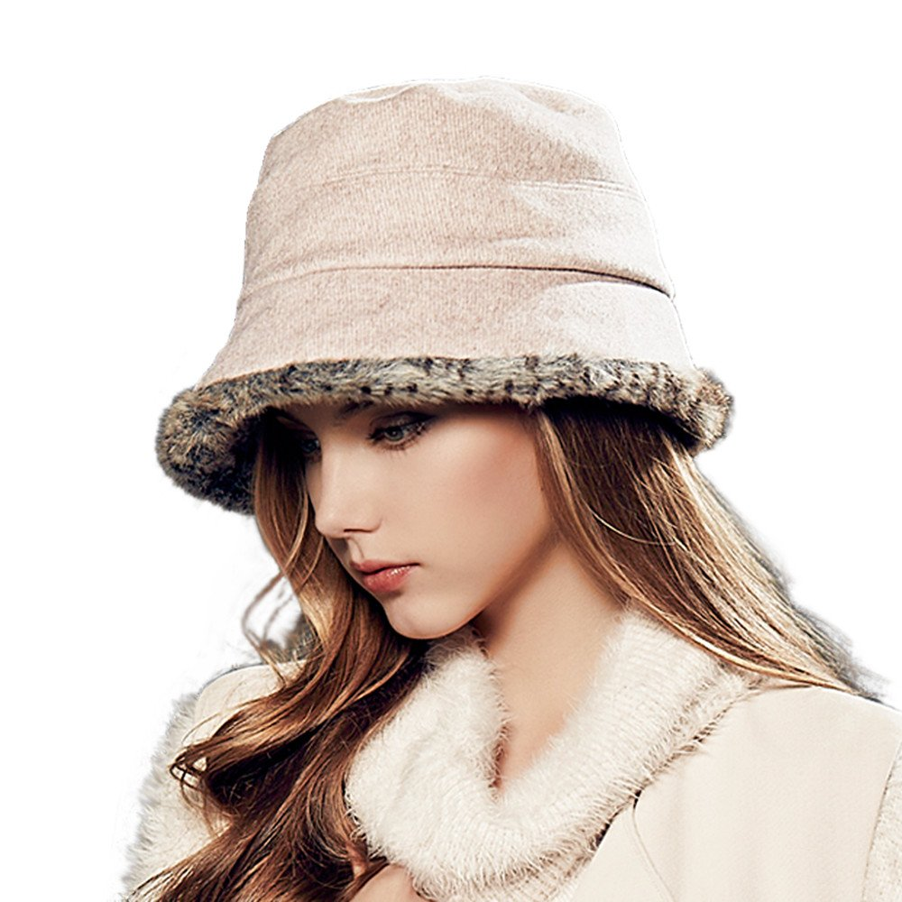 Kenmont Winter Women Warm Wool Bucket Hat Billycock Dicer Faux Fur Cap KM-2342