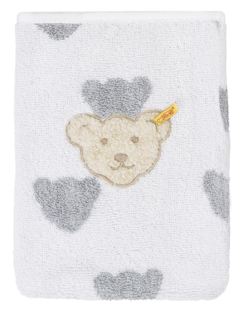 Steiff L000020308 Waschlappen wei/ß mit Teddyb/ärk/öpfen Babywaschlappen
