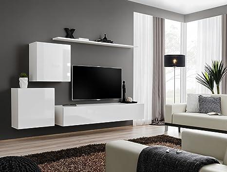 Cuarnan mobile soggiorno moderno sospeso. Tutto bianco ...