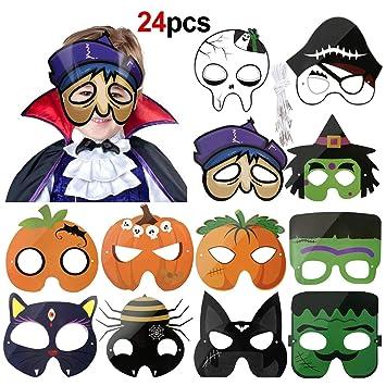 Howaf 24pcs Halloween Máscaras para niños, Calavera Fantasma ...