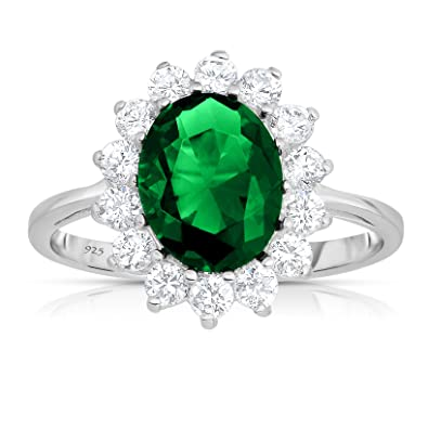Buy Unique Royal Jewelry Sterling Silver Rich Green Emerald Cz