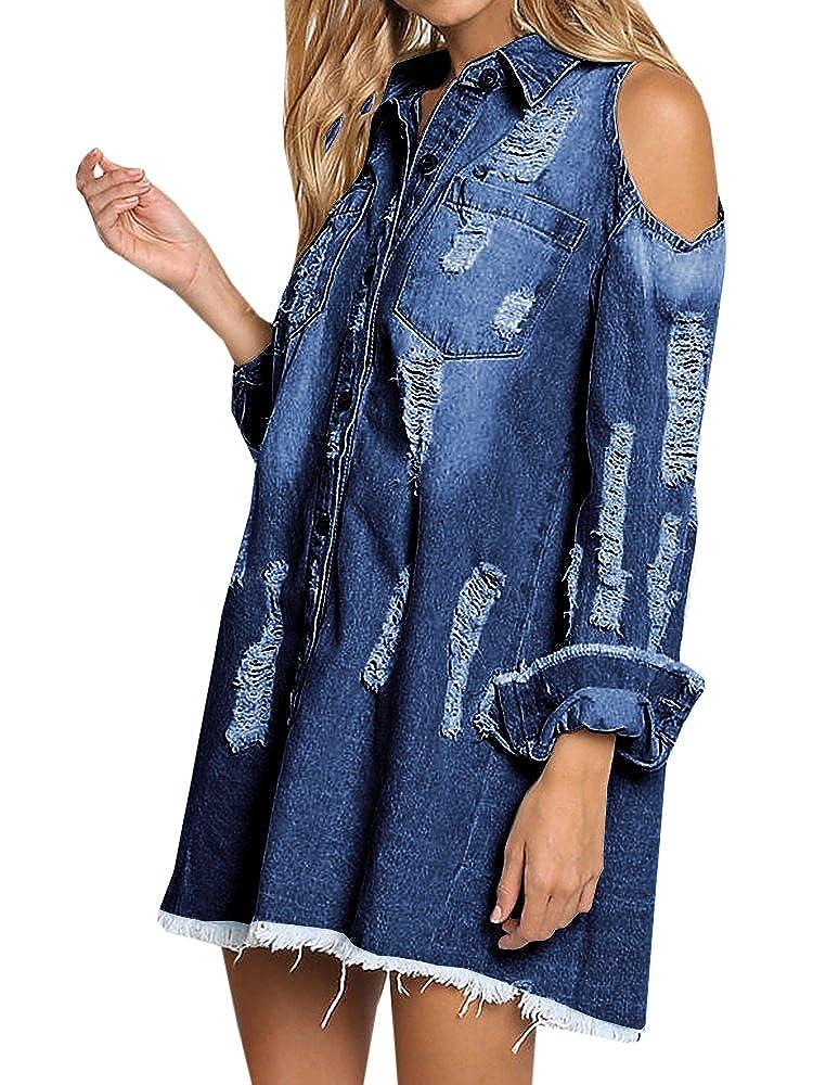 c86e7a1be89 Geckatte Women s Cold Shoulder Long Sleeve T-shirt Button Down Denim Shirt  Dresses (Small