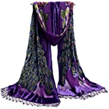COCONEEN Peacock Embroidered Beads Long Scarf Shawls