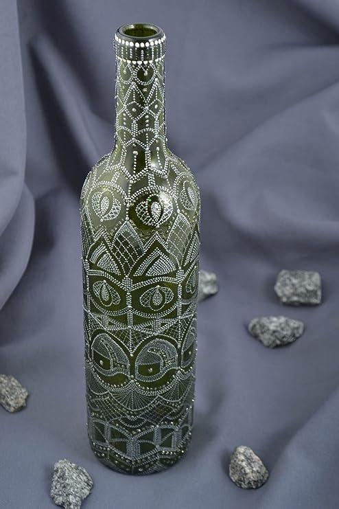 Madeheart Botella de Cristal vajilla Original Hecha a Mano Verde Vacío Deco casa: Amazon.es: Hogar