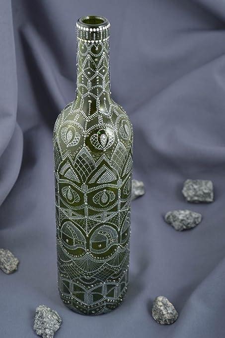 Botella de vidrio hecha a mano recipiente para vino regalo original para hombre