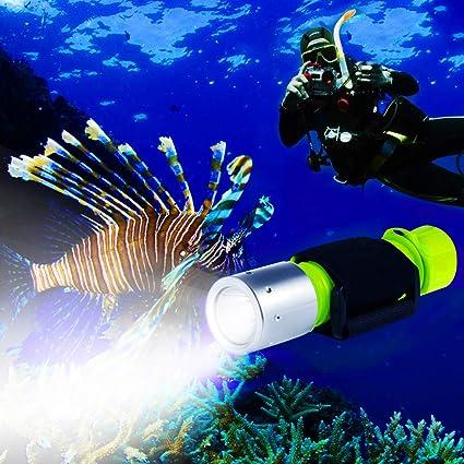 BlueFire Linterna de Buceo,XM-L2 luz LED Submarinismo Buceo