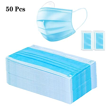 Pcs Disposable Layer Individual Mask Dust Flu 1 50 Medical Mask,3 Protection Breathable Package Surgical Blue Air Pollution