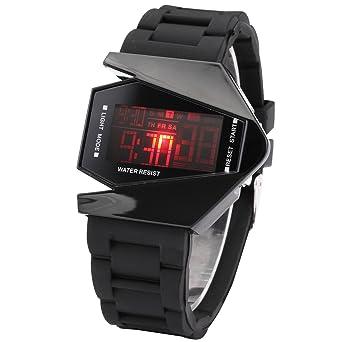 AMPM24 Mens Sport Multicolor Blue LED Backlight Digital Date Alarm Black Rubber Watch LED034
