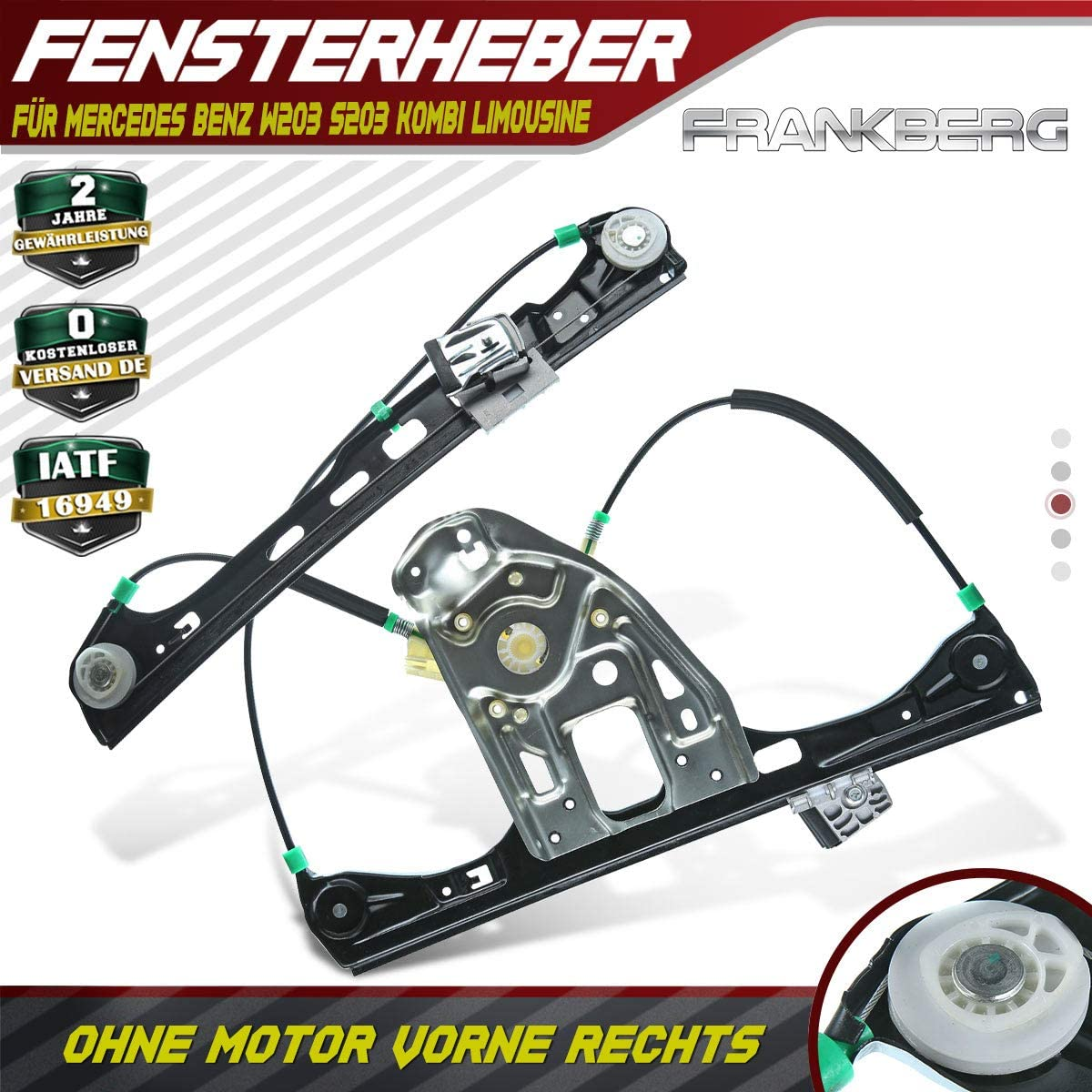 Frankberg Fensterheber elektrisch Mit Motor Vorne Rechts f/ür M-Klasse W163 1998-2005 1637201246