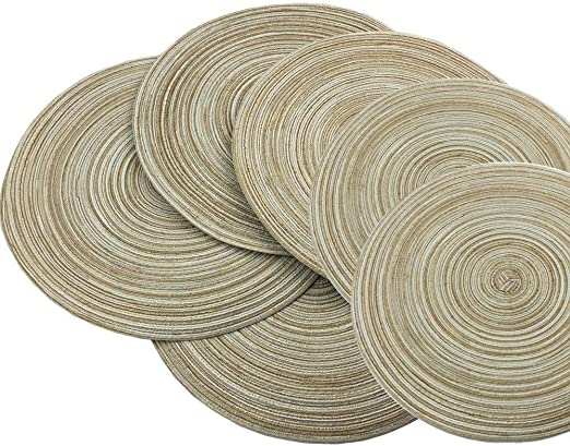 SHACOS Round Woven Placemats Set of 6,38cm Round Table Cotton Placemats Washable Heat Resistant non slip Placemats for Kitchen Table Beige
