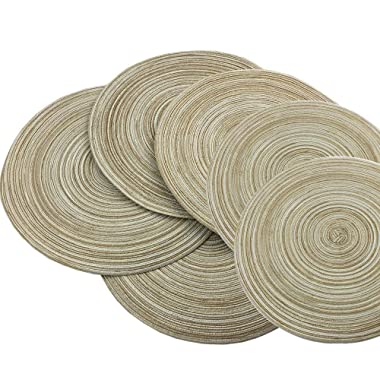 Red-A,Placemats,Round Placemats for Dining Table Set of 6 Woven Heat Resistant Non-Slip Kitchen Table Mats Diameter 14 Inch(Cream with Golden Silk)