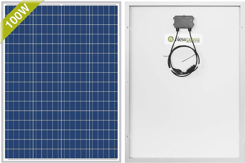 Newpowa Panel solar policristalino de 100 vatios 12 voltios 100W 12V módulo de alta eficiencia Rv barco marino fuera de la rejilla