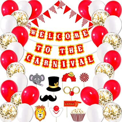 24 Birthday Everyday Party Favor CARNIVAL Circus BIG TOP Tent RED CLOWN NOSES
