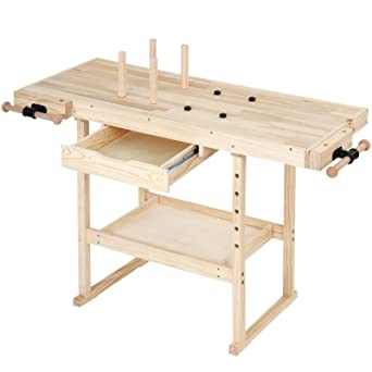Wooden Work Bench Table 82.5 cm High Solid Pine Wood Home Workmate Multi-Purpose
