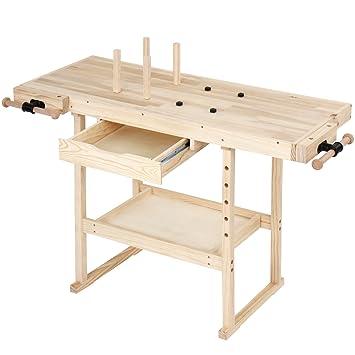 Hervorragend Jago Werkbank aus Holz Werktisch mit Spannzange und Bankhaken  FA03