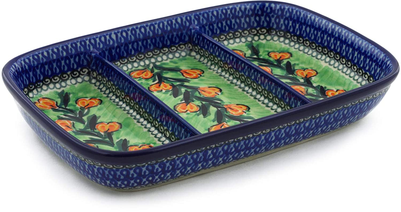 Ceramika Artystyczna ポーランド陶器 91⁄2インチ 分割皿 (チューリップリーステーマ) UNIKAT + 鑑定書付き   B00B9FYK2E